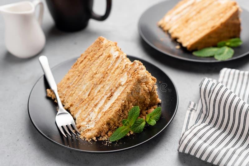 Płatowaty miodowy tort Medovik na talerzu fotografia royalty free