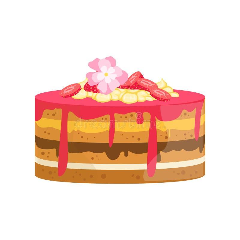 Płatowaty tort Z kwiatami I Różnymi śmietankami Dekorował Dużego Specjalnej okazi przyjęcia deser Dla Poślubiać Lub urodziny royalty ilustracja
