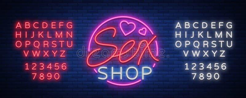 Płeć Deseniowy logo, Seksowny xxx pojęcie dla dorosłych w neonowym stylu Neonowy znak, projekta element, magazyn, druki, fasady,  ilustracja wektor