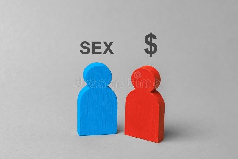 Płeć dla pieniądze, nierząd, serdeczny przyjaciel usługa mężczyzna chce płeć i kobiety z dolarowym znakiem obraz stock