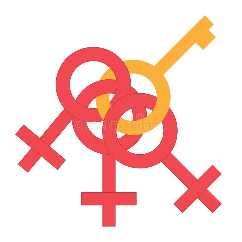 Płeć pieniądze przylega symbol Rodzaj kobiety i mężczyzna związany symbol Samiec i żeński abstrakcjonistyczny symbol również zwró ilustracja wektor