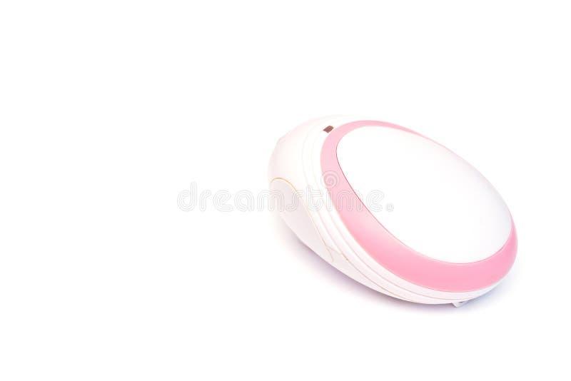 Płodowy Doppler dla kobiet w ciąży dla słuchać płodowy dziecka s bicie serca, biały tło, odizolowywa, w górę zdjęcia stock