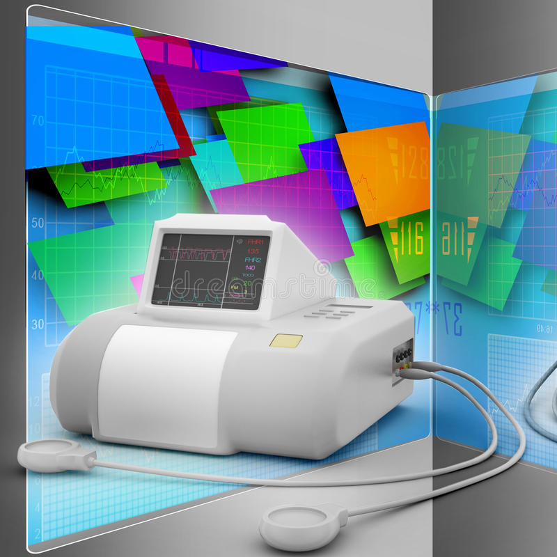Płodowy monitor ilustracji