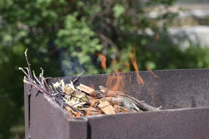 Płomień nad płonący drewno fotografia royalty free
