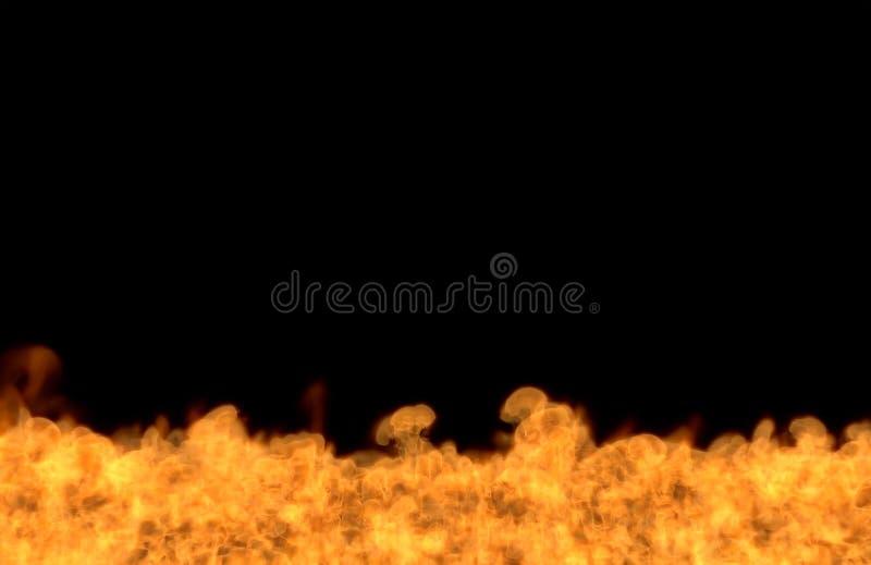 Płomień od dna - pożarnicza 3D ilustracja astronautyczny roztapiający dziki ogień, sylized rama odizolowywająca na czarnym tle ilustracja wektor