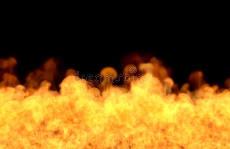 Płomień od dna - pożarnicza 3D ilustracja wizjonerski stapianie ogień, sylized rama odizolowywająca na czarnym tle ilustracji