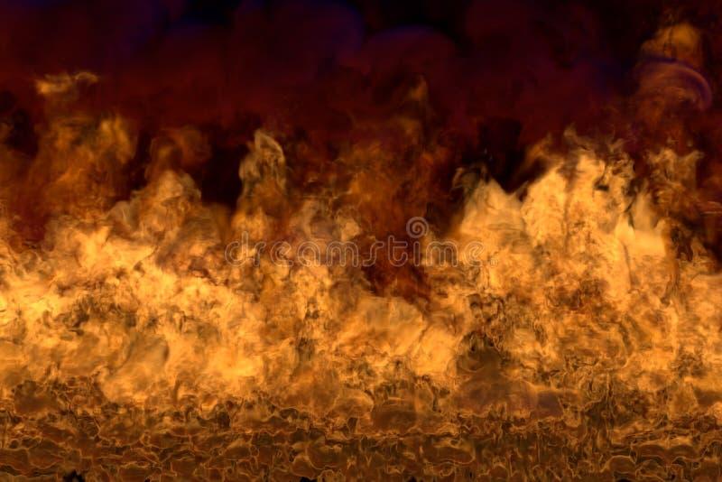 Płomień od obrazka dna osacza - pożarniczą 3D ilustrację magiczny roztapiający dziki ogień, sylized rama z ciężkim dymem odizolow ilustracja wektor