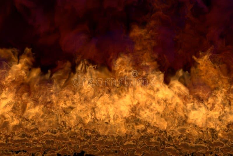 Płomień od wizerunku dna osacza - pożarniczą 3D ilustrację pozaziemski stapianie ogień, sylized rama z zmroku dymem odizolowywają ilustracja wektor
