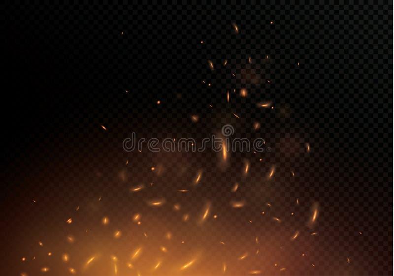 Płomień ogień z iskrami na czarnym tle Tekstura ognista burza Ogniste iskry Boke ` s światła błysną ilustracji