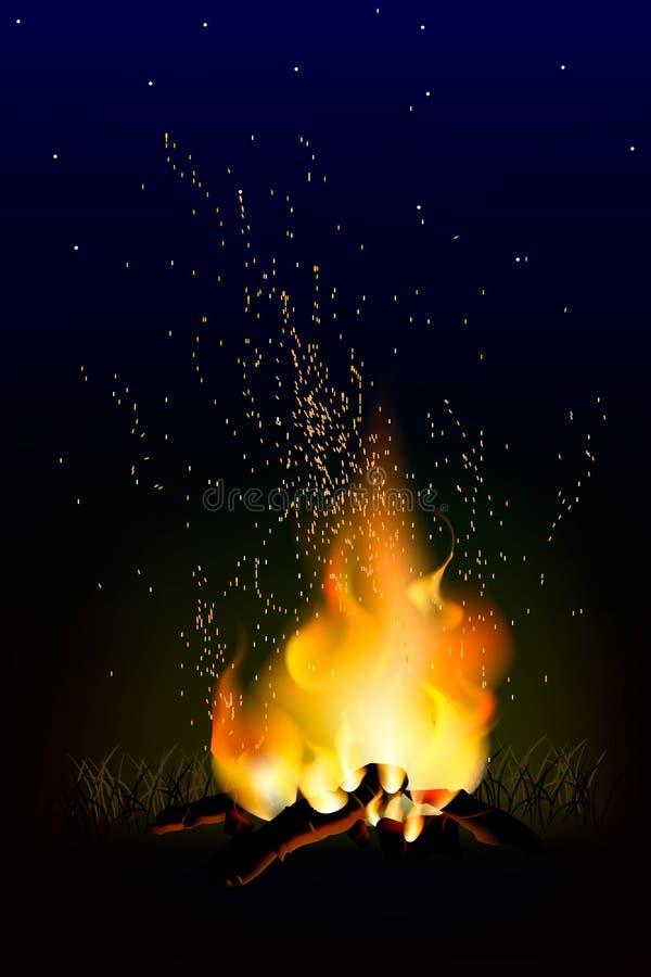 Płomień ogień z iskrami w powietrzu nad ciemną nocą ilustracji