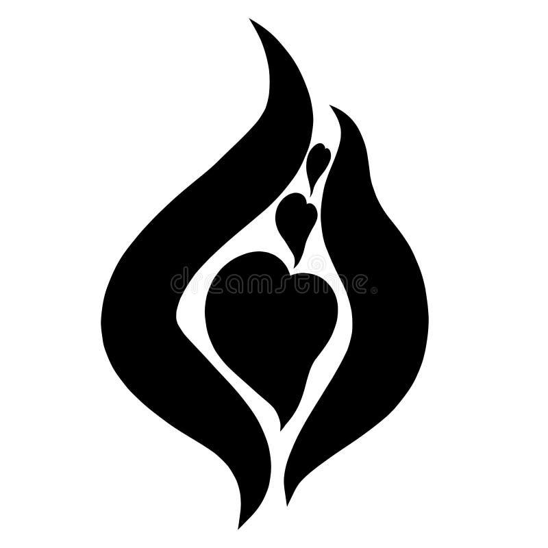 Płomień ogień z sercami wśrodku, czerń wzór royalty ilustracja