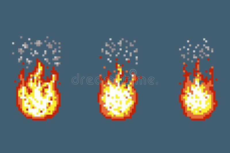 Płomień z dymnymi animacj ramami w piksel sztuki stylu ilustracji