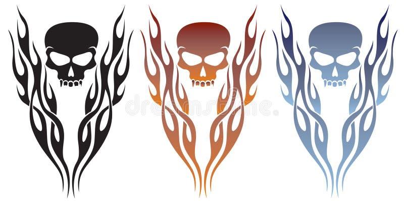 płomieni czaszki tatuaż royalty ilustracja