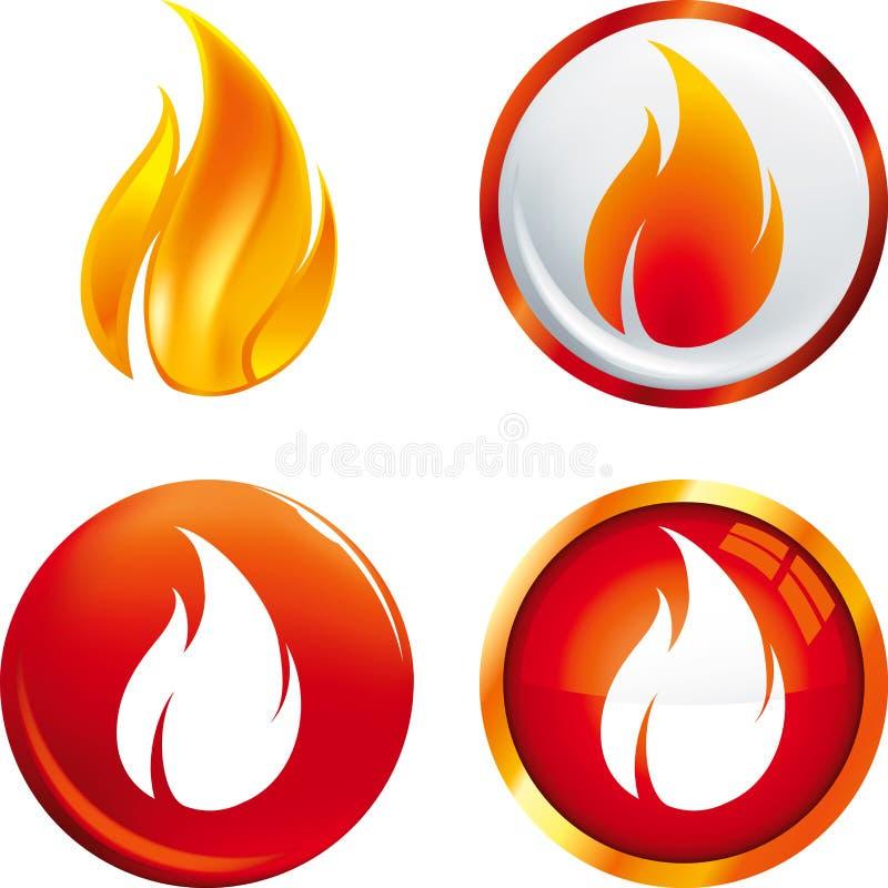 Płomieni guziki ilustracja wektor