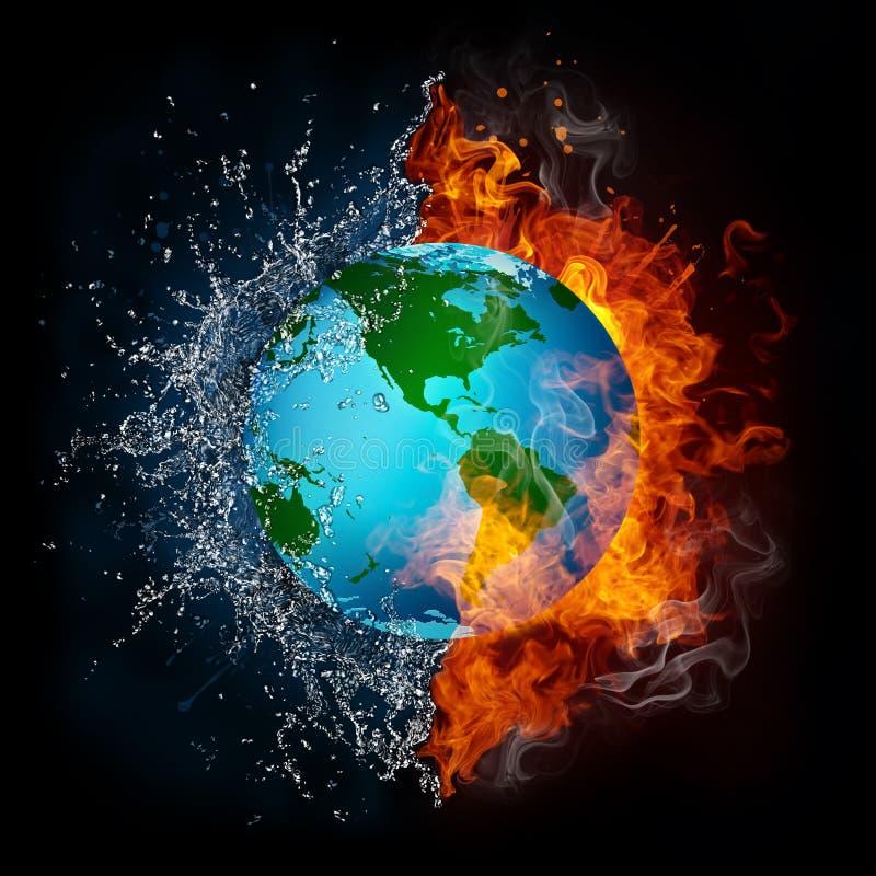 płomienia kuli ziemskiej woda ilustracji
