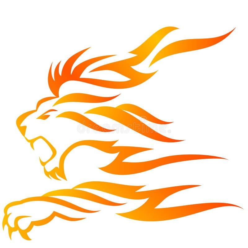 płomienia lew ilustracji