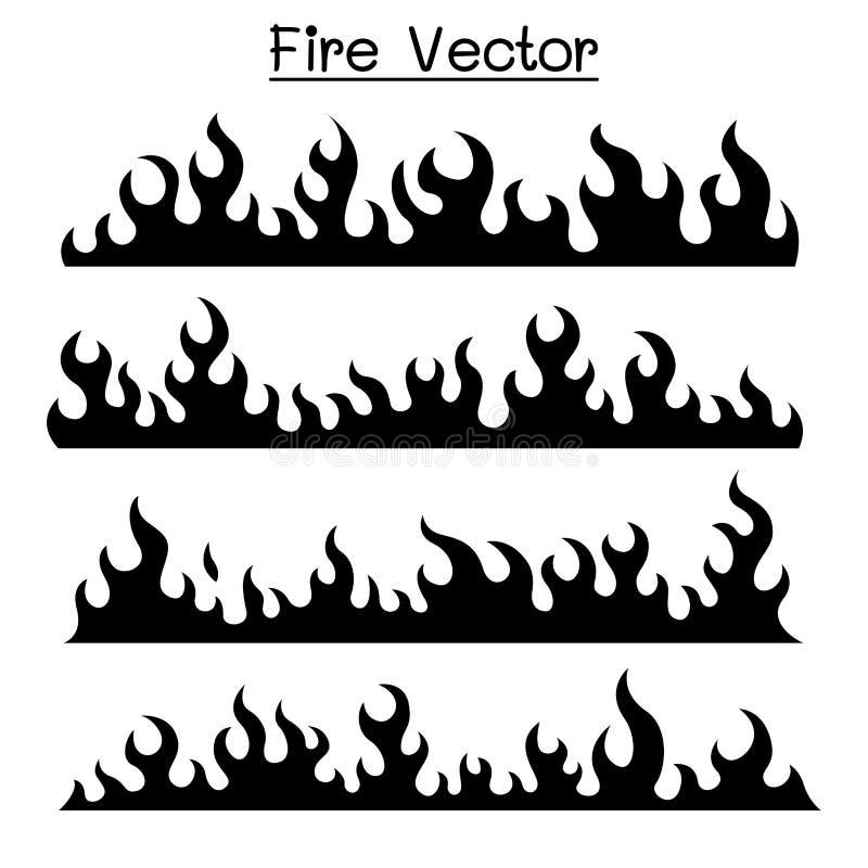 Płomienia & ogienia ikony set ilustracja wektor