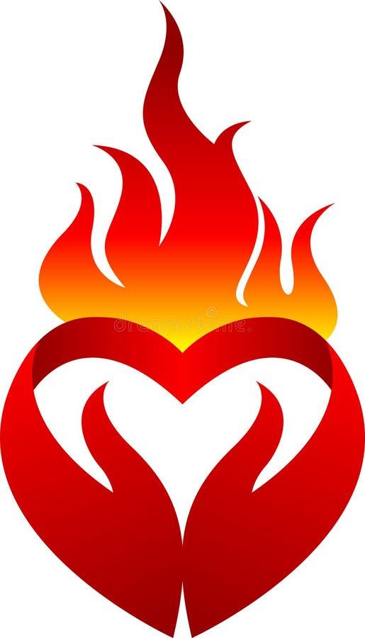 Płomienia serca logo ilustracja wektor