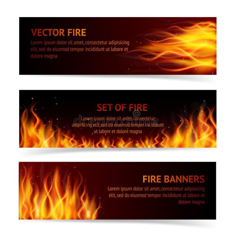 Płomienia sztandaru set ilustracja wektor