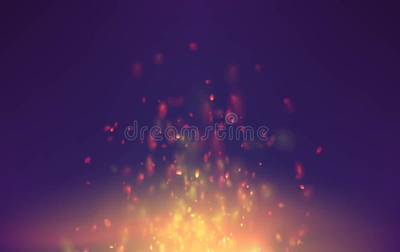 Płomienia wektorowy tło z iskier cząsteczkami ognisko fantazi latania dymne iskry ilustracji
