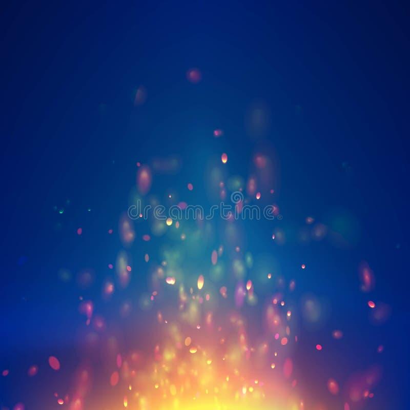 Płomienia xmas wektorowy tło z iskier cząsteczkami Kolorowy pożarniczy blasku lśnienie Ognisty magiczny blask ilustracji