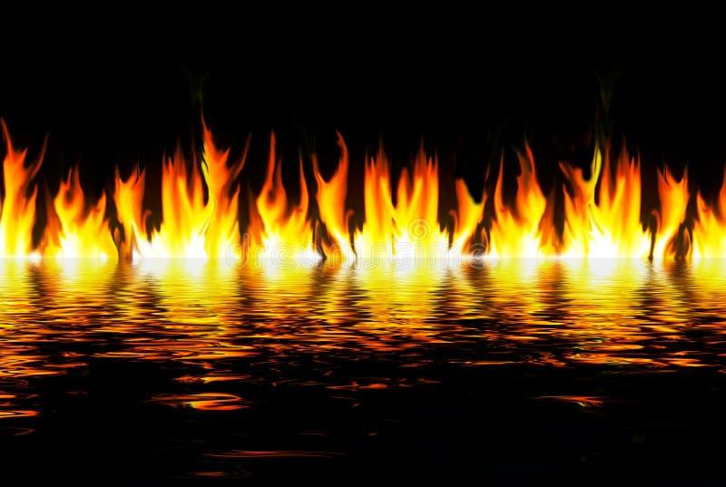 płomienie nad wodą ilustracja wektor