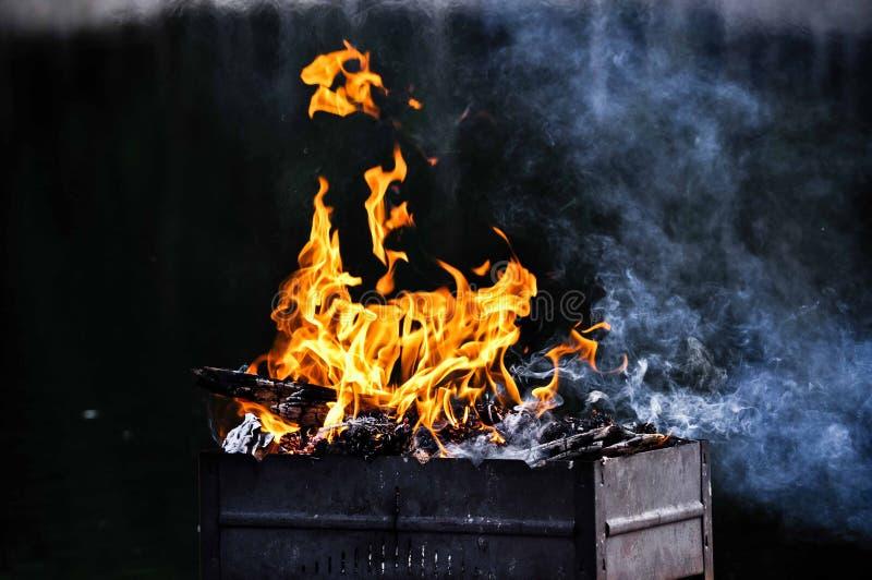 Płomienie ogień w grillu od drzewa pod jasnym lata niebem obrazy stock