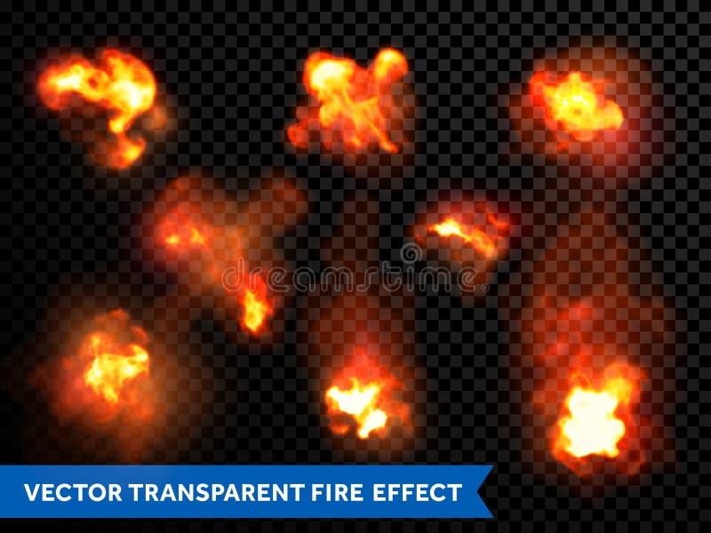 Płomienie podpalają płonących wybuchów wybuchów przejrzystego wektor royalty ilustracja