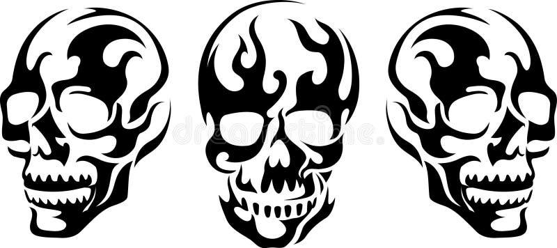Płomienna czaszki sztuka royalty ilustracja
