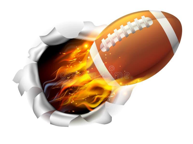 Płomienna futbol amerykański piłka Drzeje dziury w tle ilustracja wektor