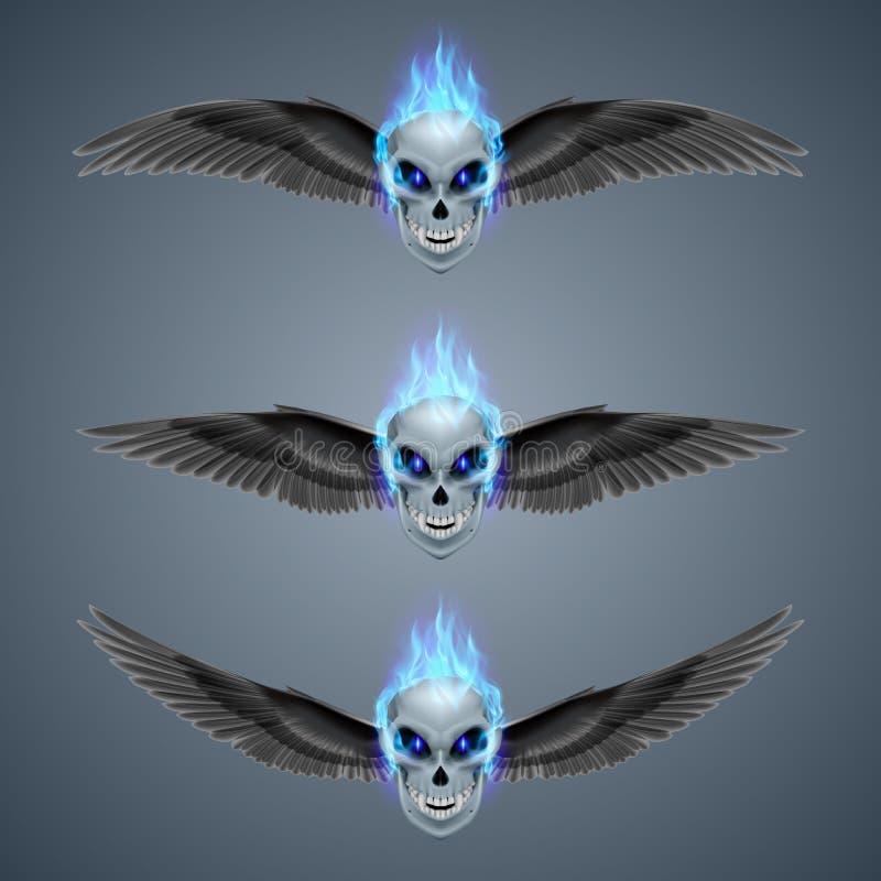 Płomienna mutant czaszka ilustracja wektor