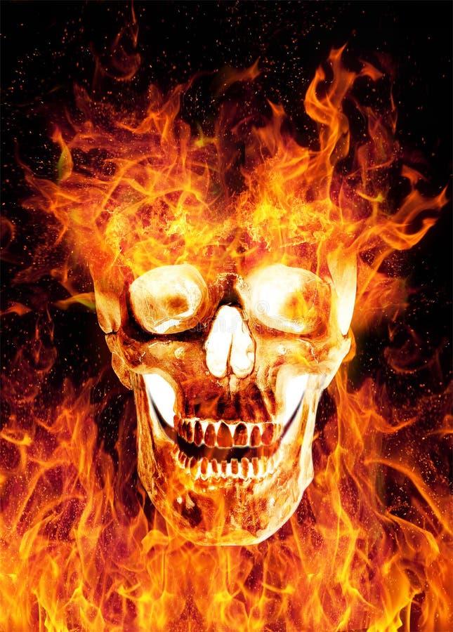 Płomienna straszenie czaszka na czarnym tle ilustracji