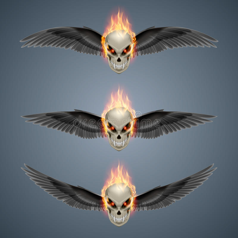Płomienne mutant czaszki ilustracji