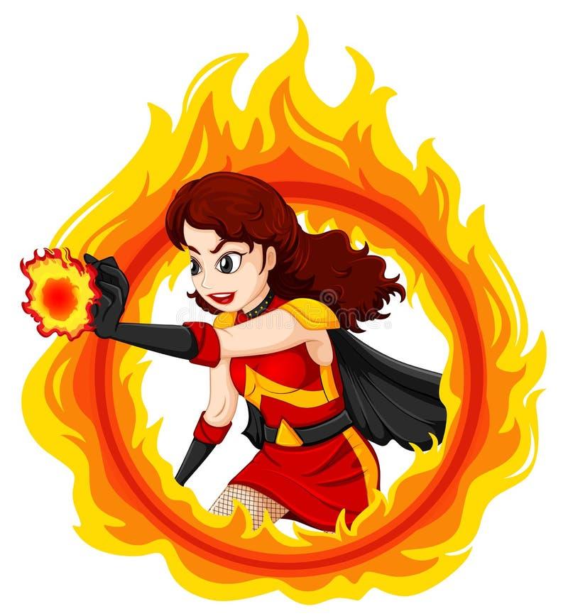 Płomienny żeński bohater royalty ilustracja
