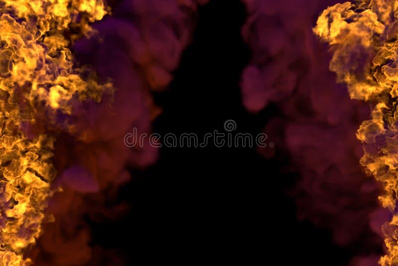 Płomienny dziki ogień z zwartego dymu ramą odizolowywającą na czarnym tle - pożarnicze linie od stron lewica i prawica, wierzchoł royalty ilustracja