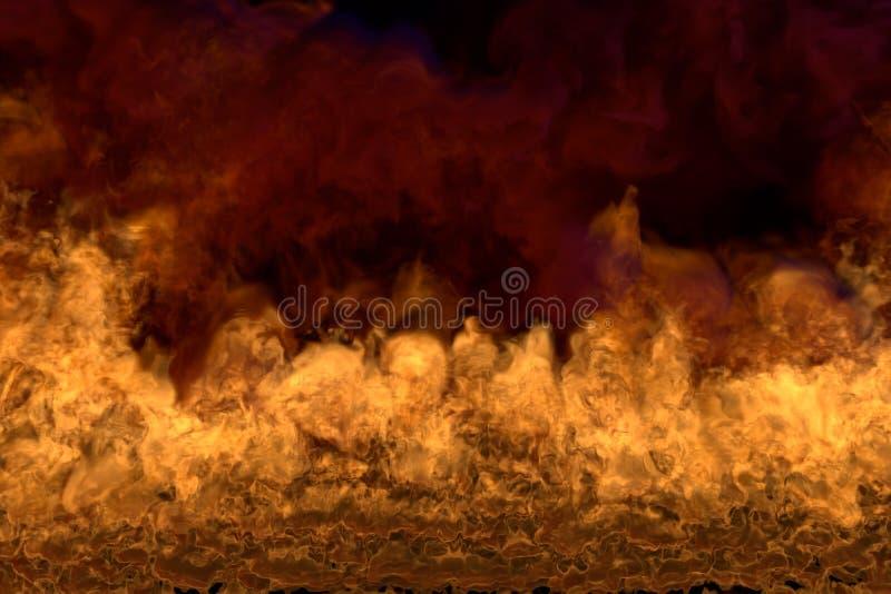 Płomienny piekło na czarnym tle, płomienna rama z zmroku dymem pożarnicza 3D ilustracja - ogień od wizerunków kątów - ilustracja wektor