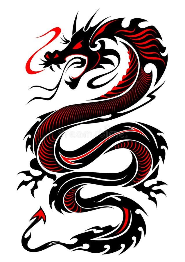 Płomienny plemienny smoka tatuaż ilustracja wektor