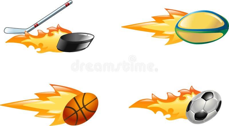 płomiennych ikon błyszczący sport ilustracja wektor