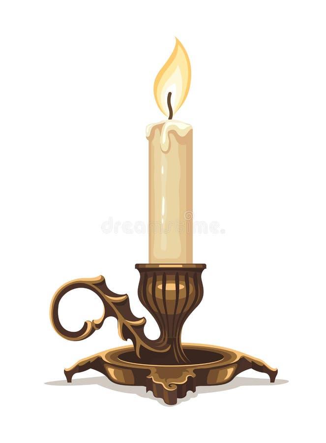 Płonąca świeczka w brązowym candlestick ilustracji