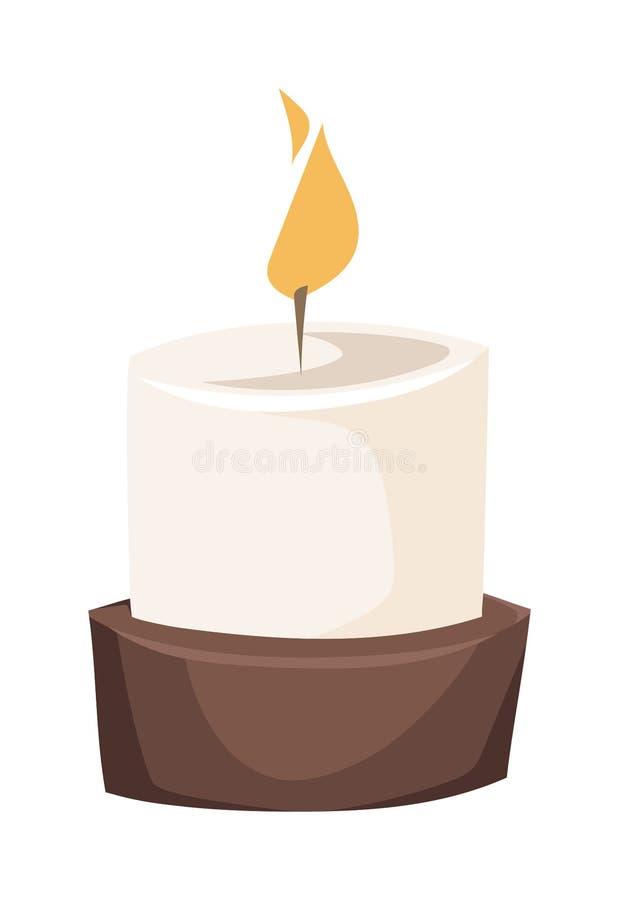 Płonąca świeczka w statywowej płaskiej wektorowej ilustraci ilustracja wektor