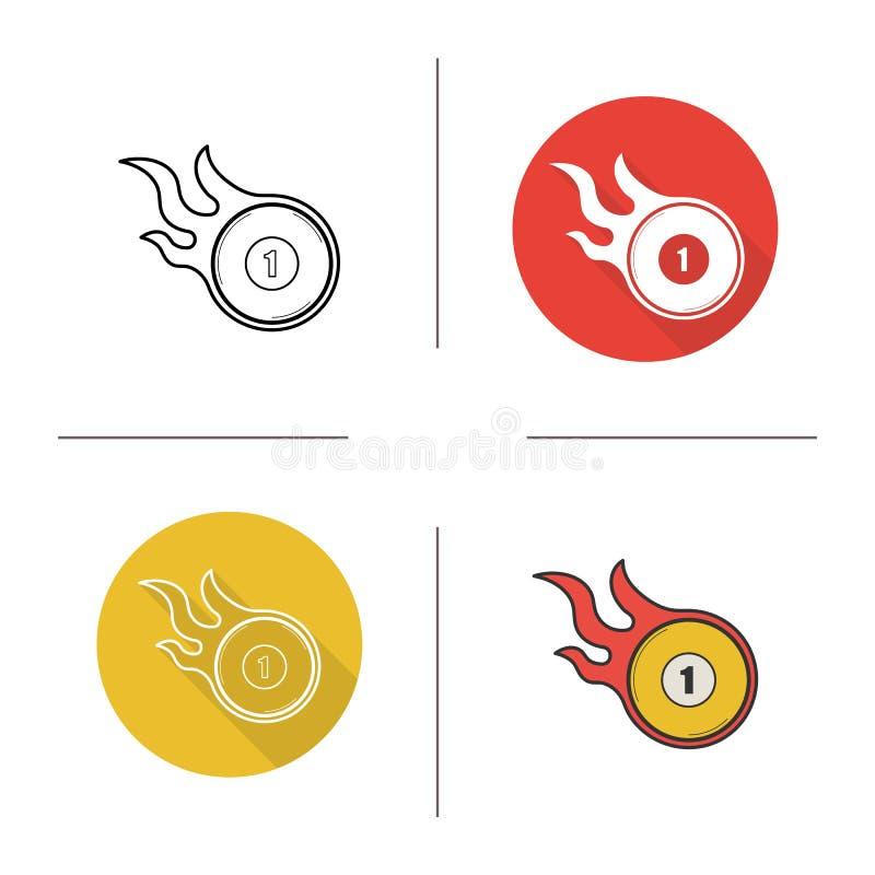 Płonąca bilardowej piłki ikona ilustracji