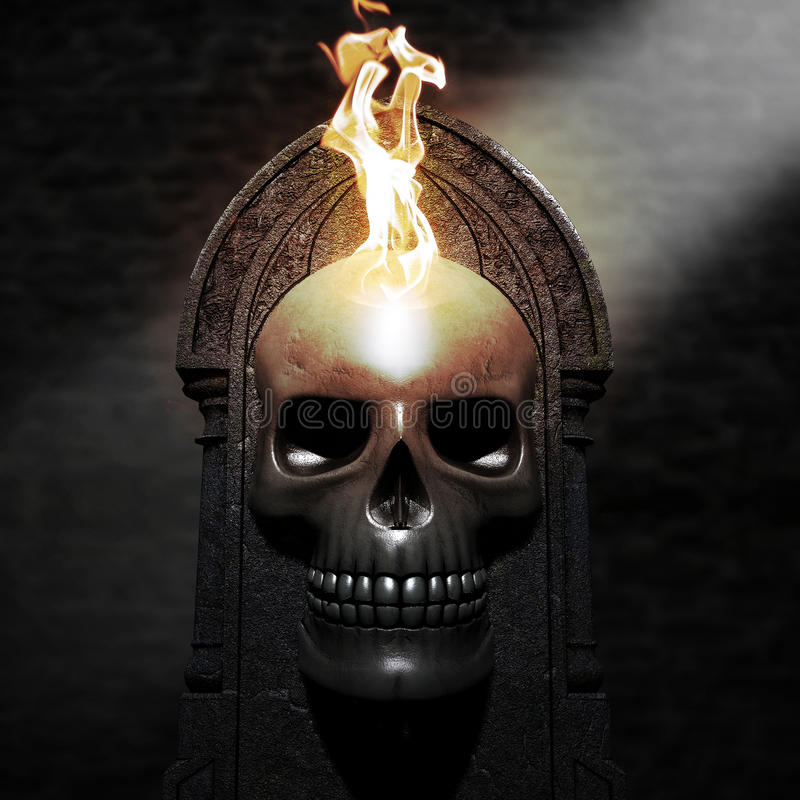 płonąca czaszki ilustracji