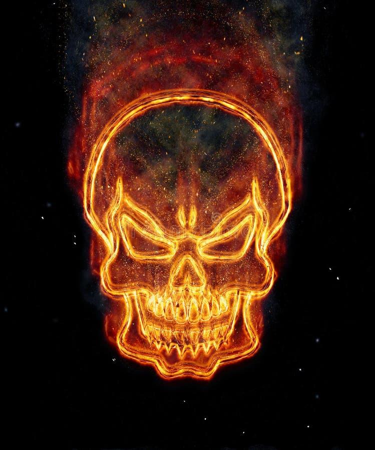 płonąca czaszki ilustracja wektor