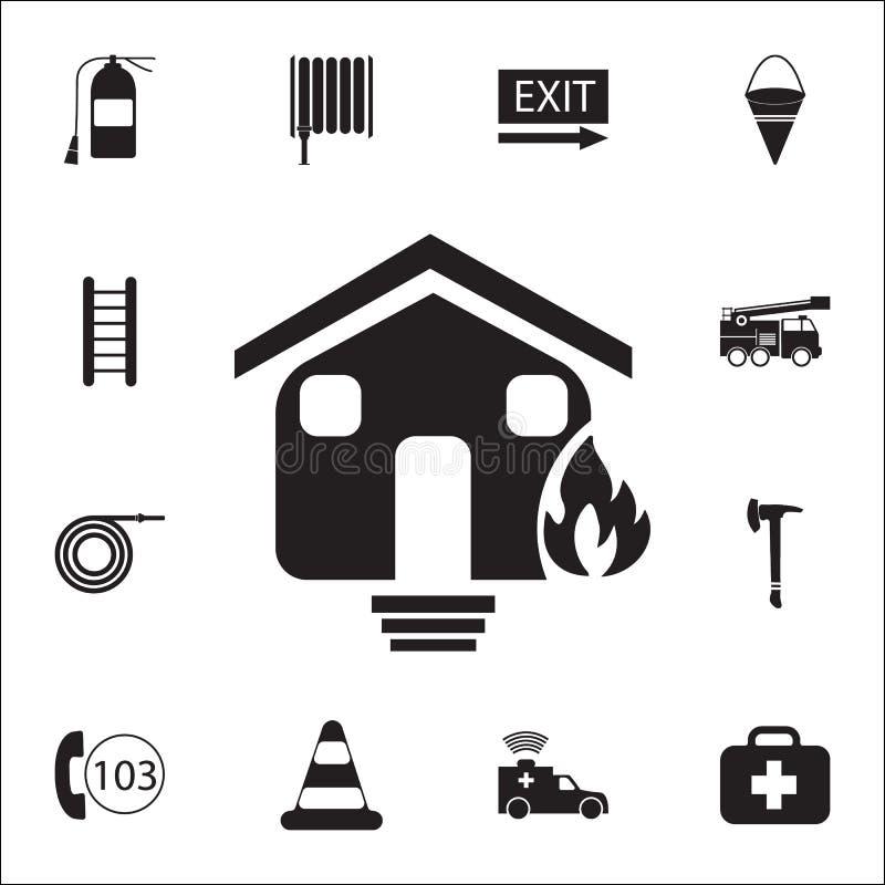 Płonąca domowa ikona Szczegółowy set ogienia strażnika ikony Premii ilości graficznego projekta znak Jeden inkasowe ikony dla str ilustracja wektor