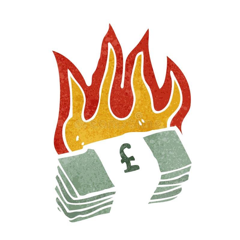 płonąca funtowego szterlinga kreskówka royalty ilustracja