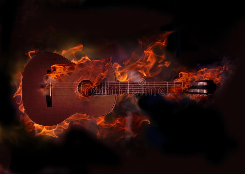 płonąca gitara obrazy stock