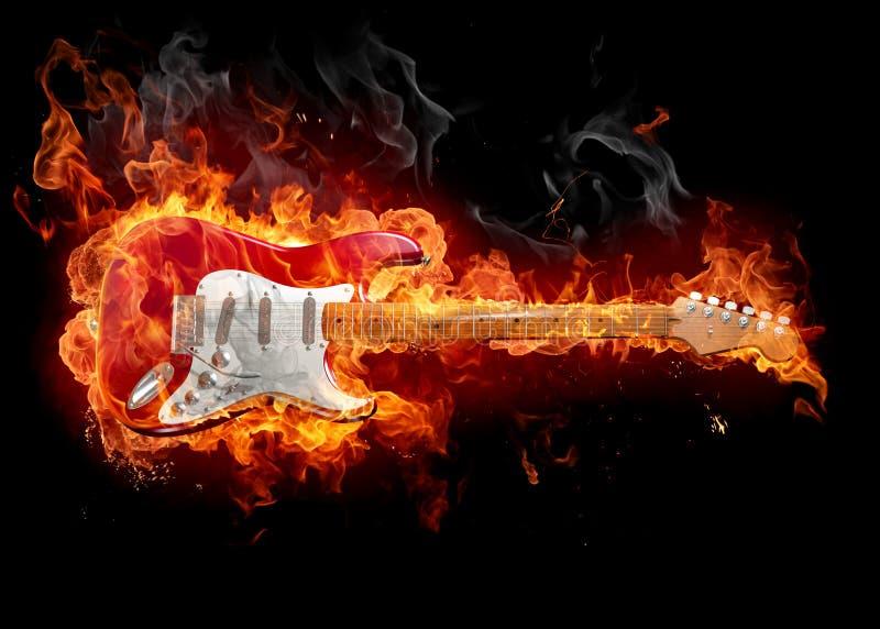 płonąca gitara royalty ilustracja