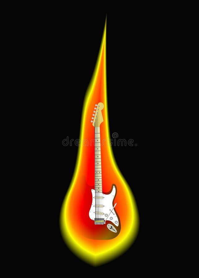 płonąca gitara elektryczna ilustracja wektor
