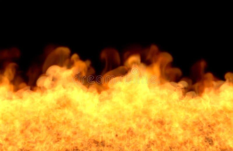 Płonąca graba na czarnym tle, ogień od obrazka dna - pożarnicza 3D ilustracja ilustracji