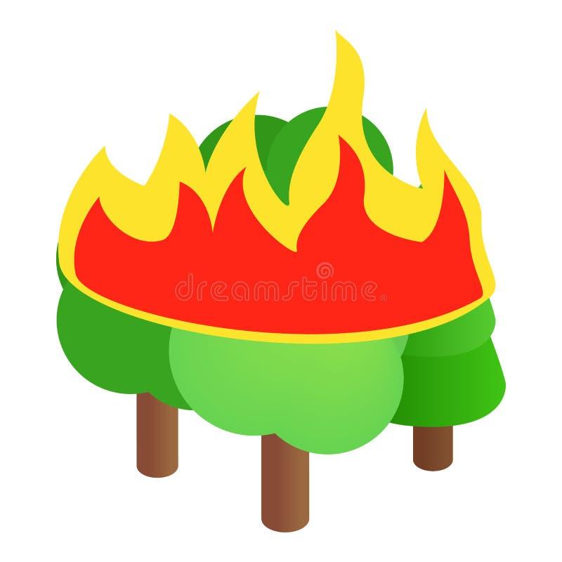 Płonąca lasowych drzew ikona, isometric 3d styl ilustracji